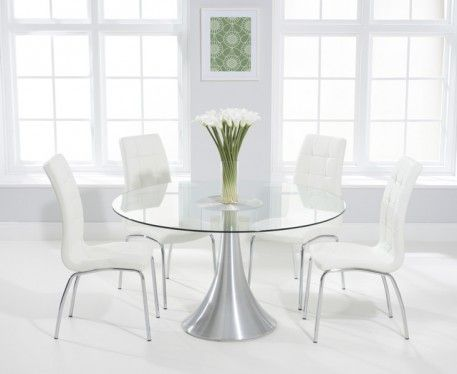 Paloma 135cm Round Glass Dining Table With Calgary Chairs In 2020 Glass Round Dining Table Glass Dining Table Furniture Dining Table