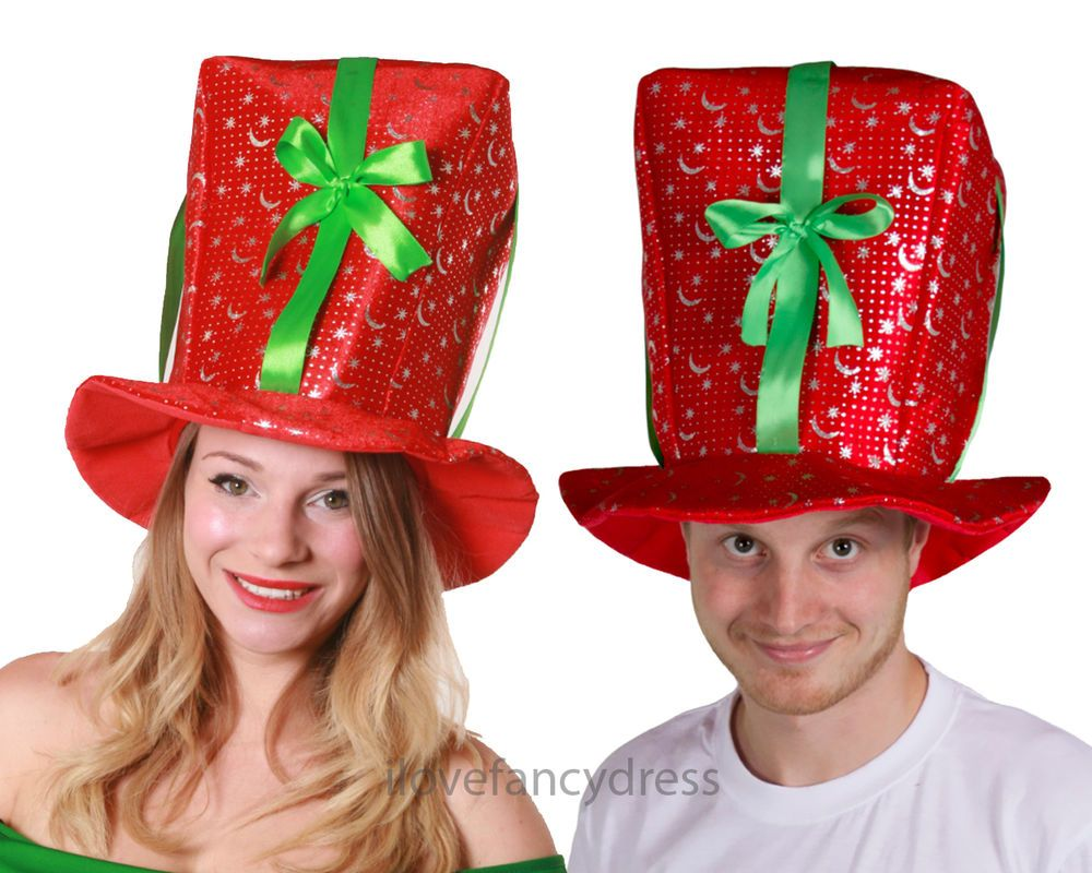 CHRISTMAS PRESENT HAT XMAS PARTY PLUSH HAT SECRET SANTA NOVELTY FANCY DRESS