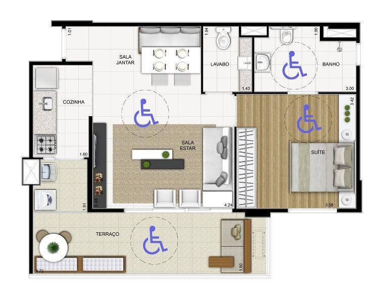 Cabe uma cadeira de rodas no apartamento pequeno | Projeto