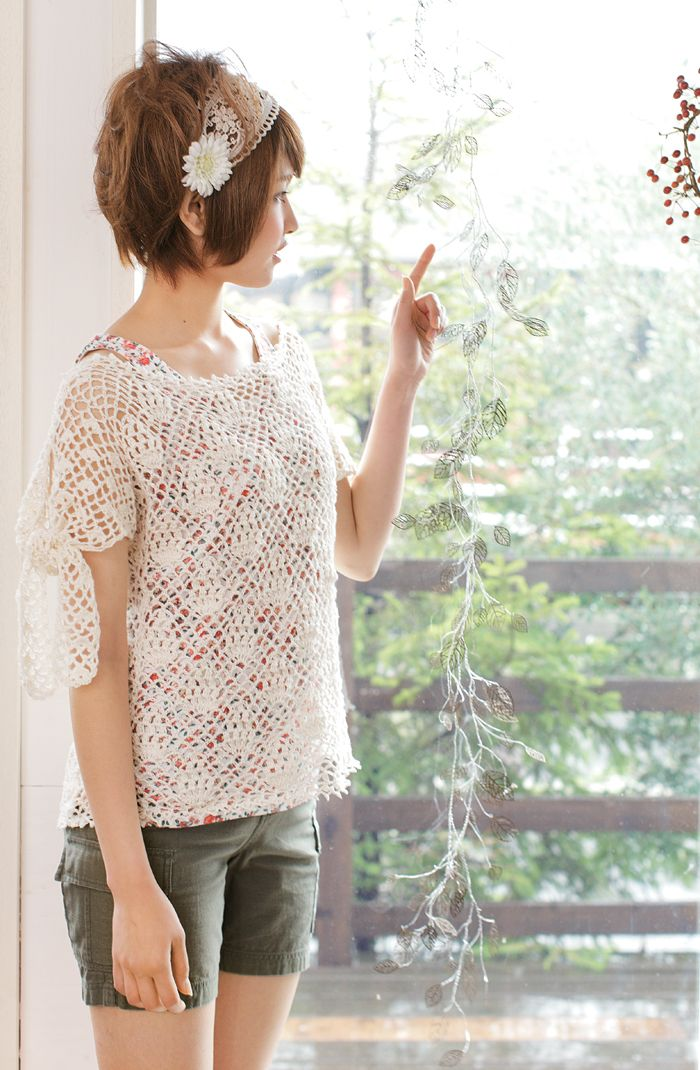 Crochet Lace Shirt Free Pattern Japanese Diagram Crafty Ness