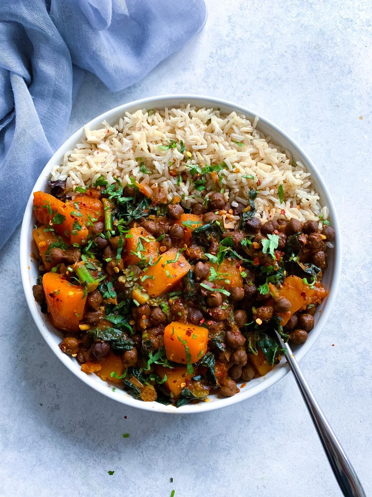 Butternut Squash Kale And Brown Chickpea Curry