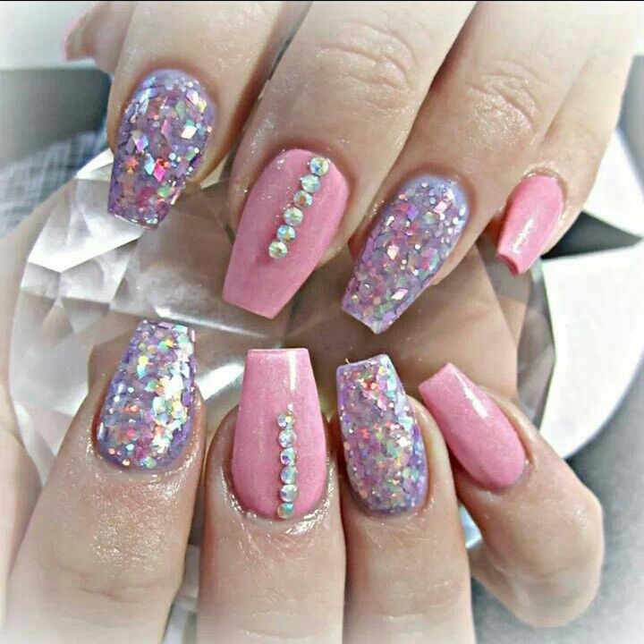 Girly Coffin Shaped Acrylic Nails Nail And Toe Color And Art