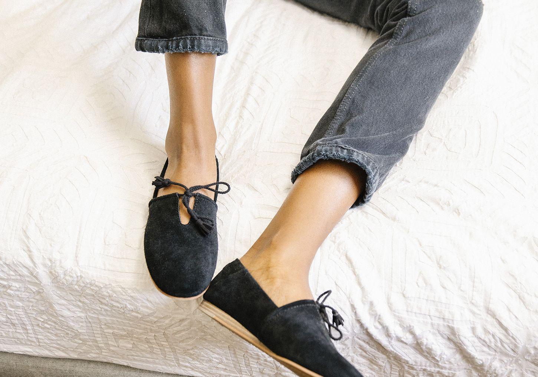 Black Suede Women's Kelli Flats | TOMS