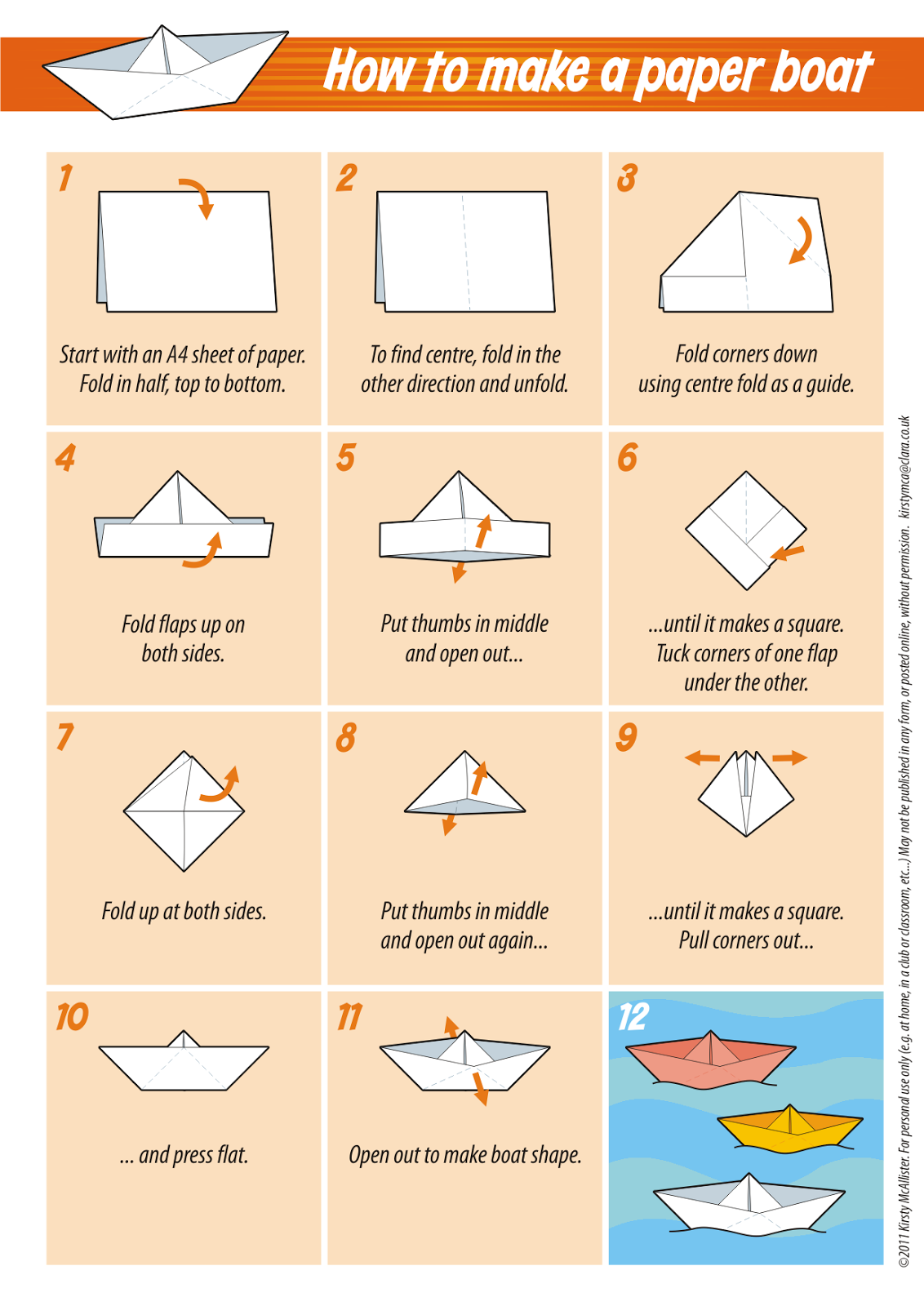 Great tips and tricks for folding all kinds of things just a paper boat add animal crackers for snack jeuxipadfo Image collections