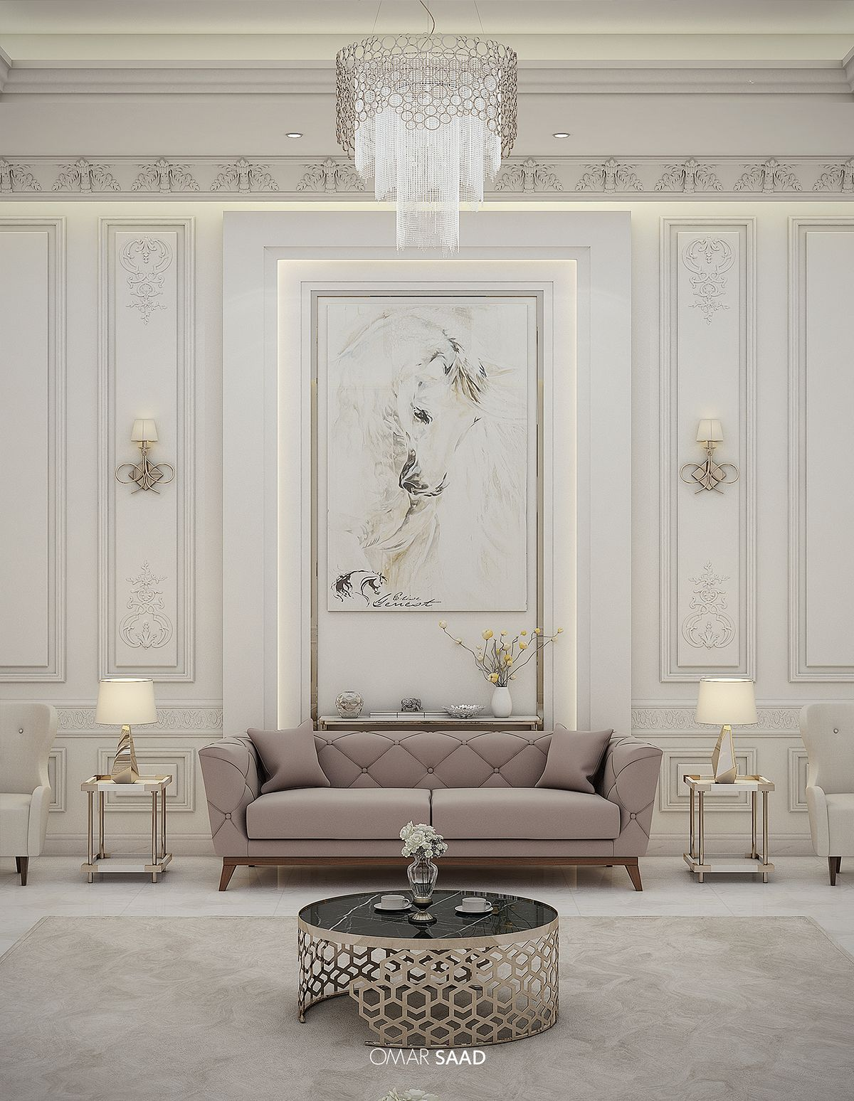 Luxury classic villa interior design on behance