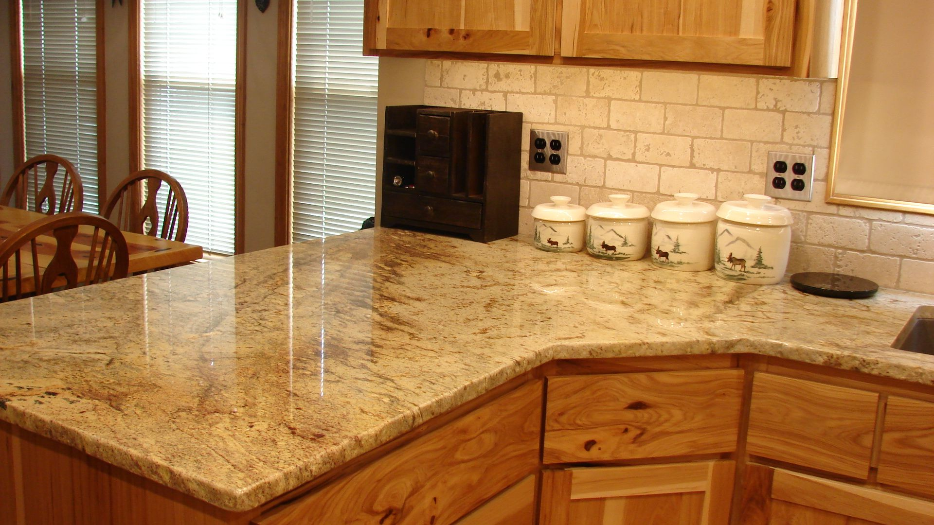 Granite Kitchen Counter Top Done In 3cm Typhoon Bordeaux With Chiseled Edge.  Back Splash Done