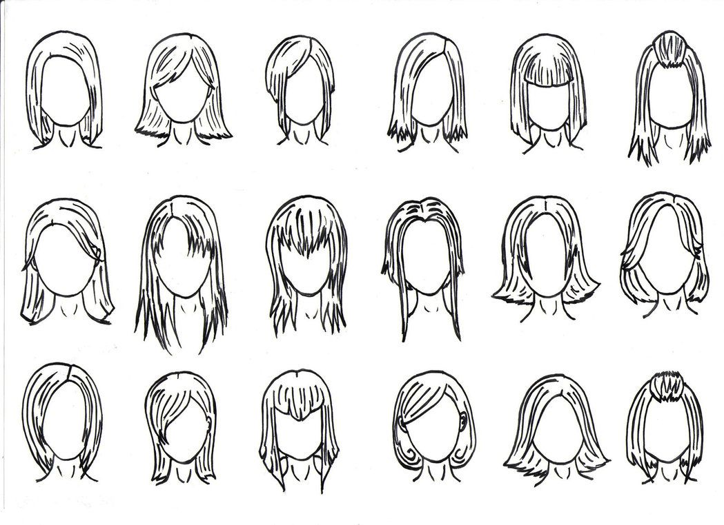 Hair Styles 1 By J Foxy Deviantart Com On Deviantart Cartoon Hair Cartoon Girl Drawing Drawing Cartoon Faces