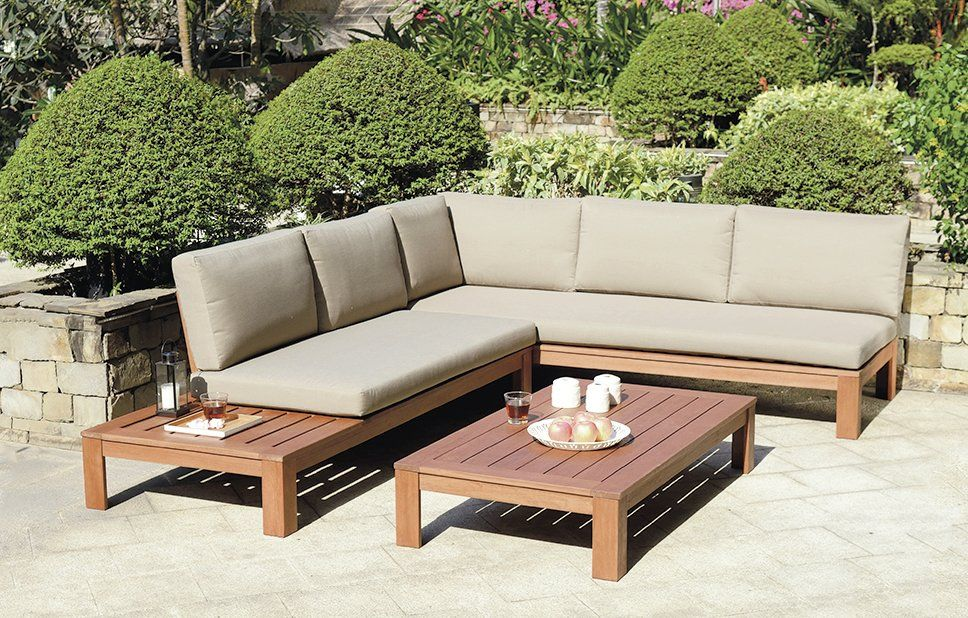 Wooden Outdoor L Shape Sofa