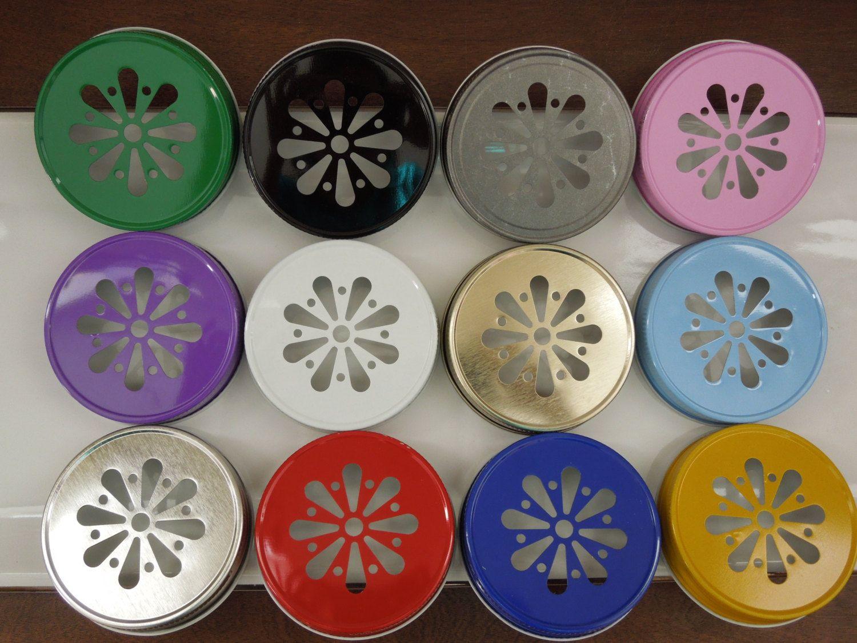 Daisy Mason Jar Lids, Daisy Cut Mason Jar Lids, Pink Daisy Lids, Rustic Wedding Ideas,Paper Straw Lids, Gold Mason Jar Lid-12 Colors to Choose From, $3.79+
