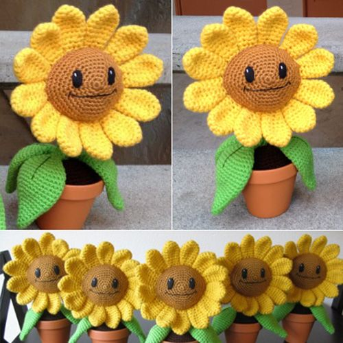 Sunflower (Plants vs Zombies) Crochet Amigurumi Pattern Free ... | 500x500