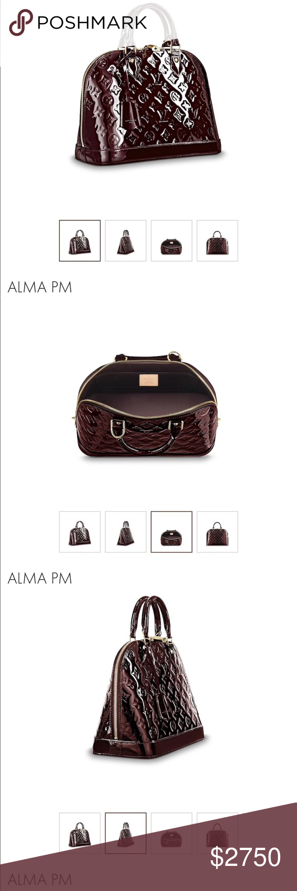 cb81b2715bfd Louis Vuitton Alma PM Patent Leather Griotte RARE Burgundy color patent  leather Color name is GRIOTTE