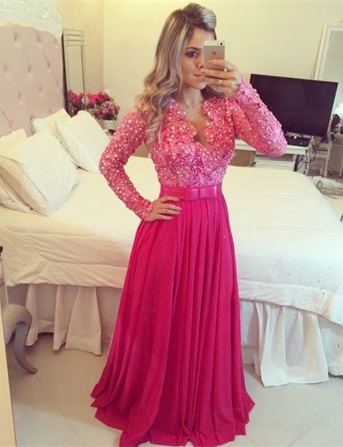 Fushia Long Sleeve Chiffon Prom Dress with Beadings Latest Bowknot ...