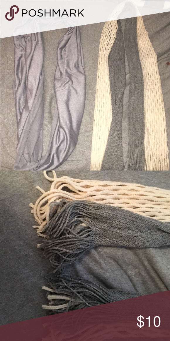 TWO GREY SCARVES! One is an infinity scarf and the other is just a regular scarf. Both are super cute and warm during the winter! Accessories Scarves & Wraps