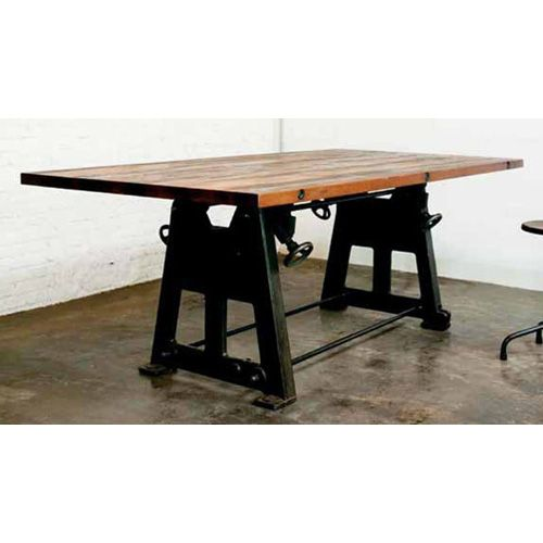 industrial dining table with cast iron table leg base industrial rh pinterest com