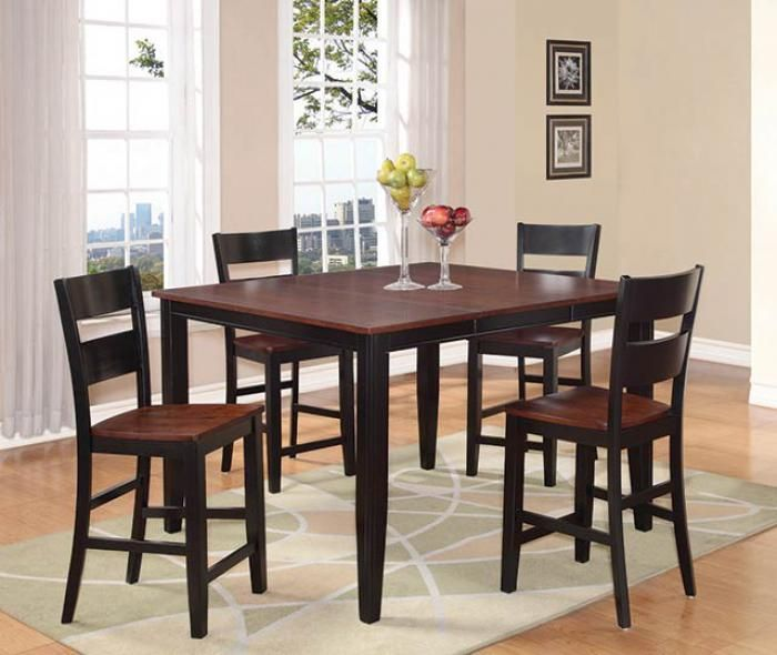 Black Cherry Counter Height Table W 4 Chairs Pub Dining Set Pub Table Sets Glass Dining Table Set