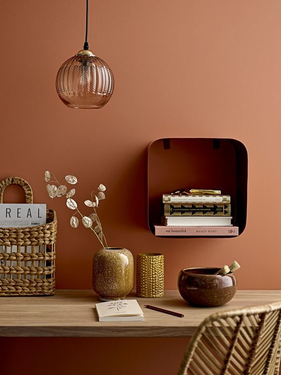 Terracotta Wall Colour Minimal Natural Desk Set Up 10 Rooms With Colour Done The Right Way! - Chloe Dominik