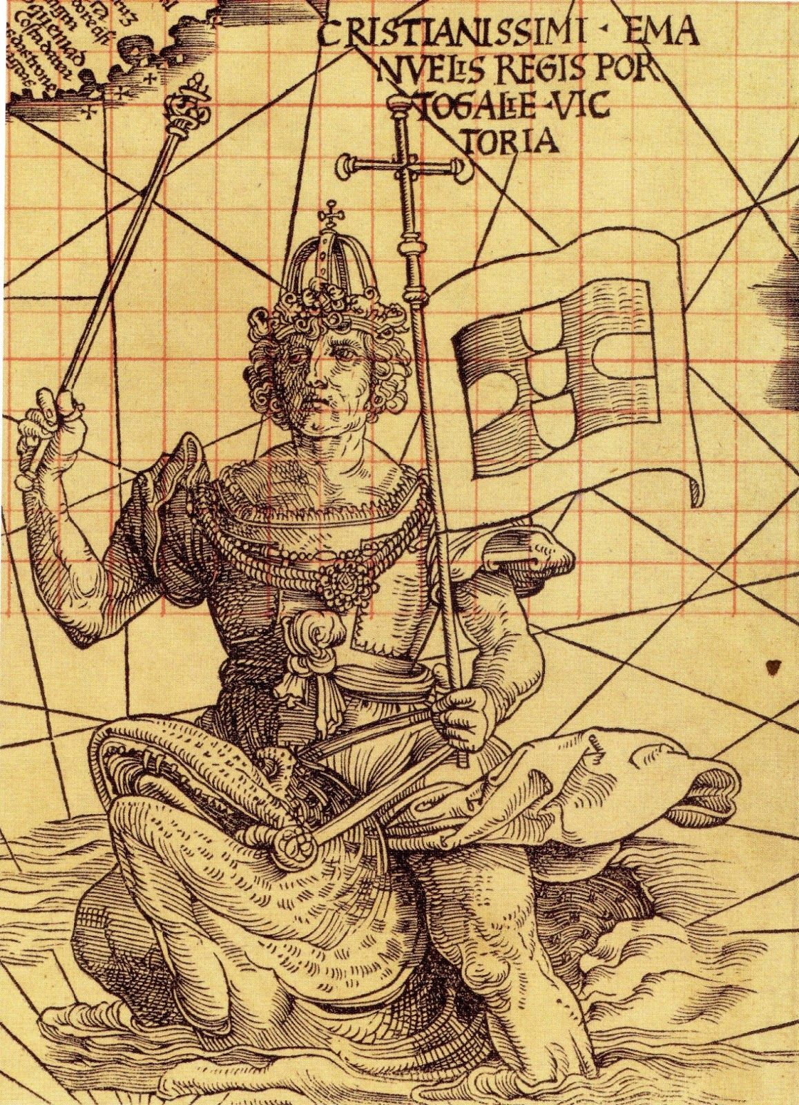 King Manuel Of Portugal Riding A Sea Creature Off The Southern Tip - Portugal map sea