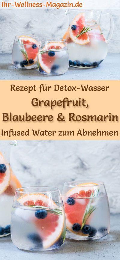 Grapefruit-Blaubeer-Rosmarin-Wasser - Rezept für Infused Water - Detox-Wasser