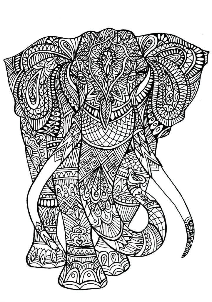 Coloring Pages For Adults Elephant : coloring, pages, adults, elephant, Elephant, Coloring, Pages, Page,, Animal, Pages,, Mandala