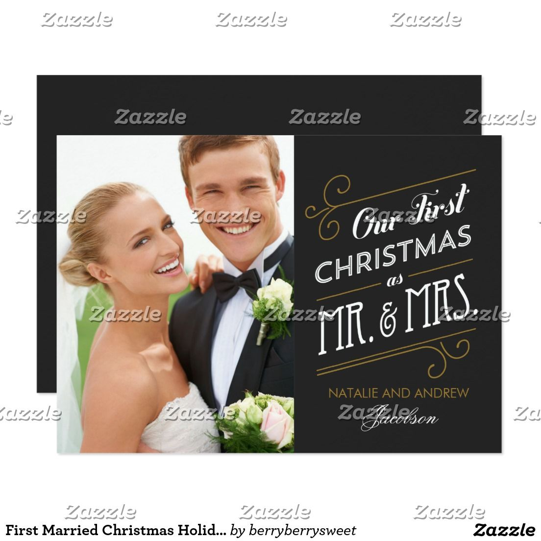 First Married Christmas Holiday Photo Card | Season Greeting Cards ...