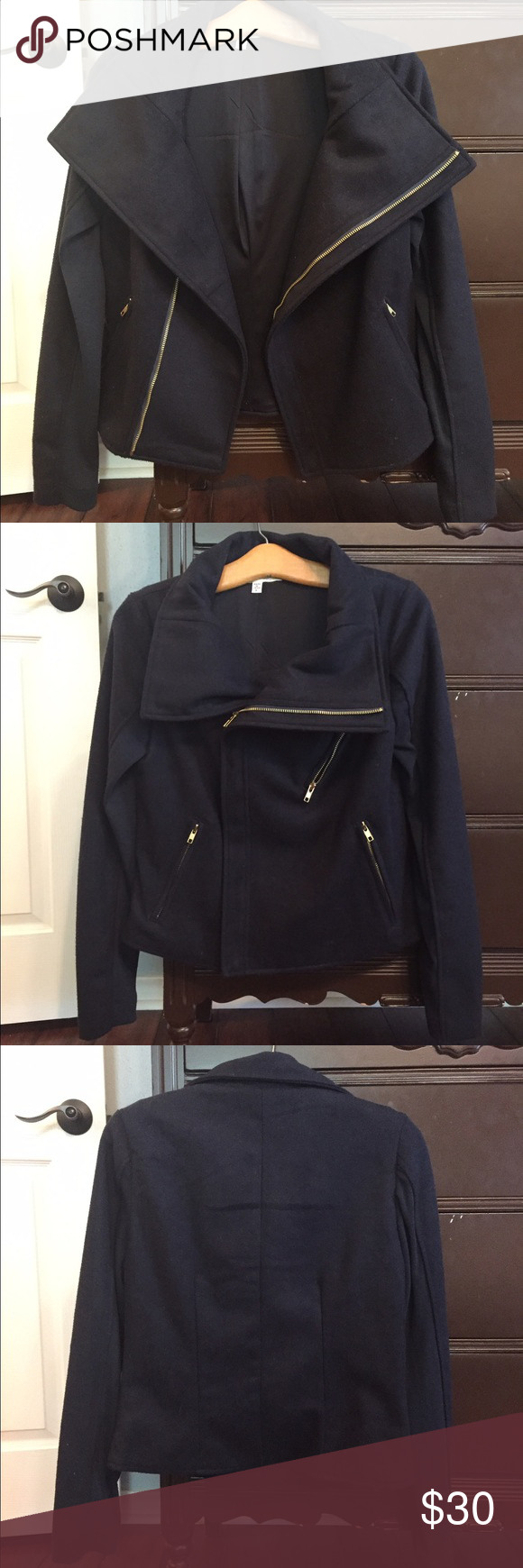 Navy blue felt/cotton jacket Stay warm in this cute navy blue jacket. Comfortable cotton sleeves. Complete with gold accent zippers! Francesca's Collections Jackets & Coats