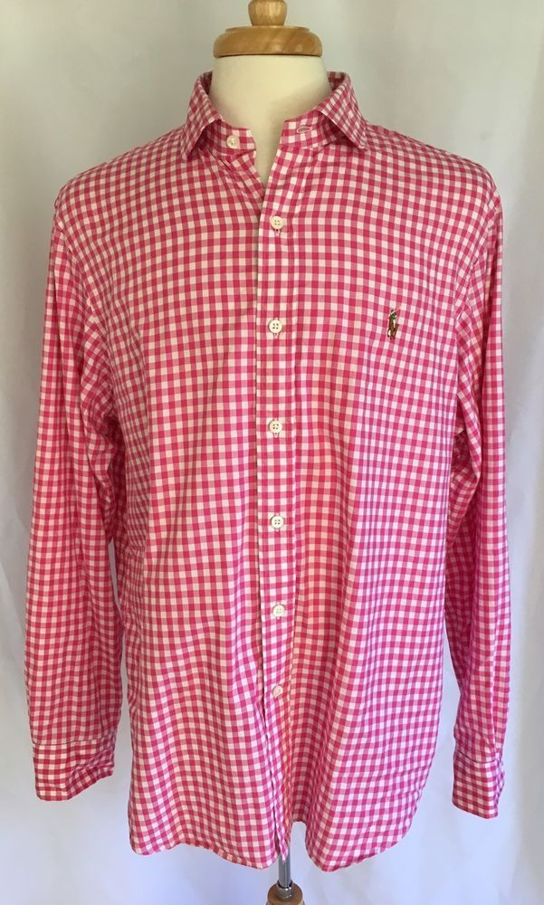Ralph Lauren Polo Men 39 S Classic Fit Pink Gingham Check