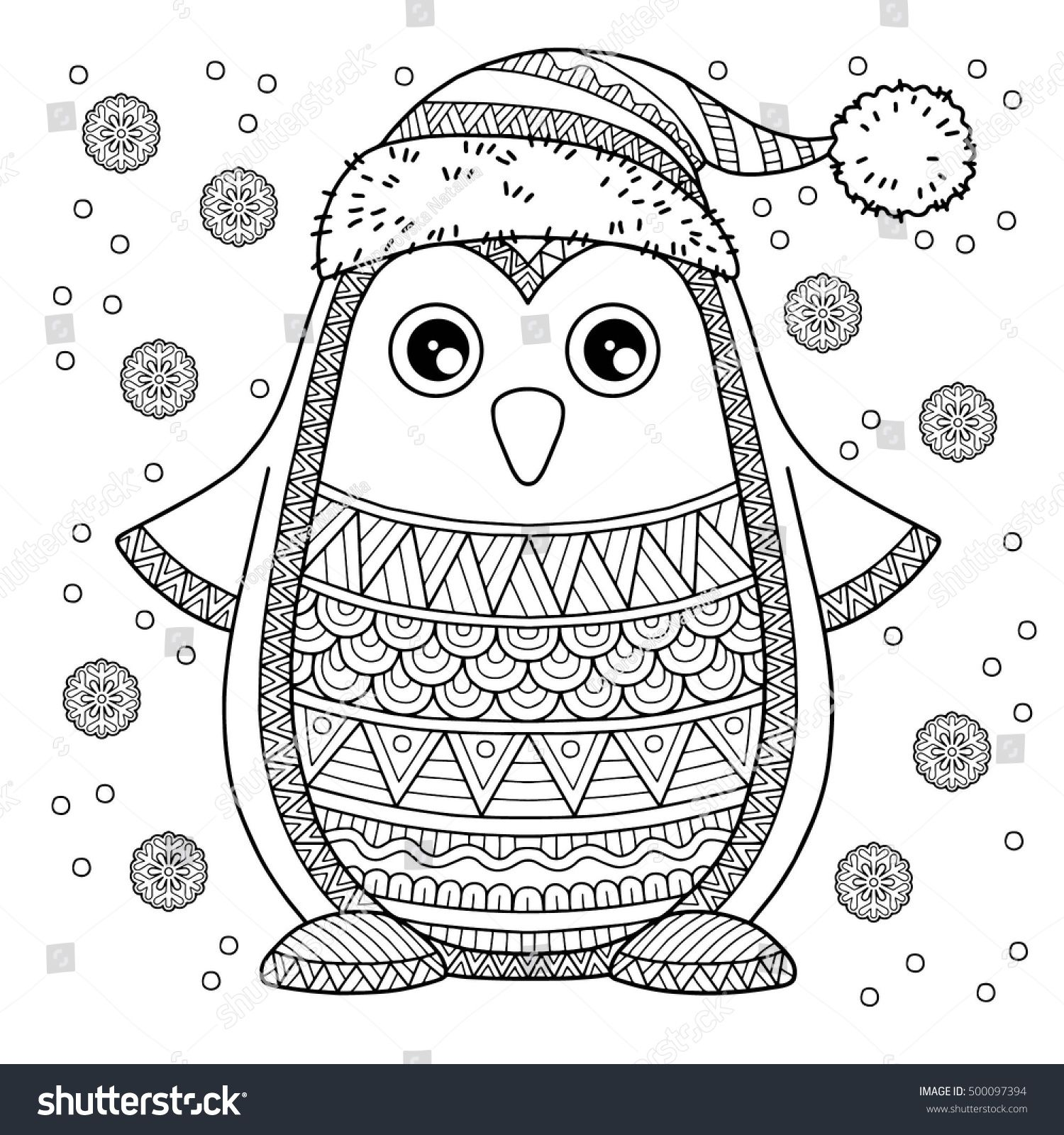 merry christmas jolly penguin the detailed coloring pages for adults image for design greeting cards