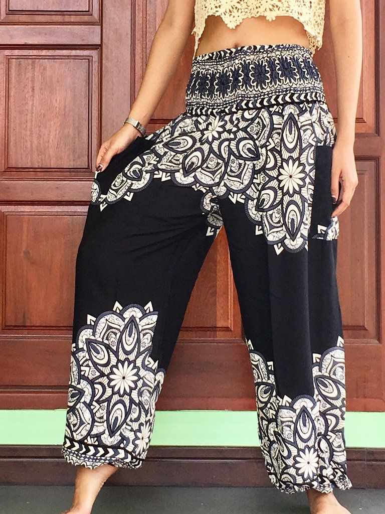 169b1c7db9dc Casual lightweight black summer trousers womens Harem Yoga long with pocket  elastic smock