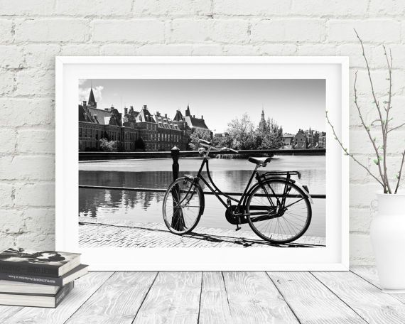Bicycle in the hague holland photography art print black and white european decor printable art the hague print digital print