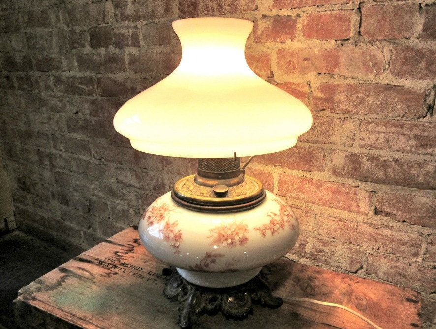 Hurricane Electric Lamp Antique White Milk Glass Electrified Oil Lamp Floral Glass Gone With The Wind Table Lam White Milk Glass Electric Lamp Lamp