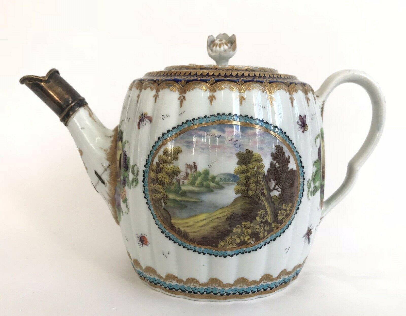 18th Century Worcester Porcelain TeapotDalhousie Type