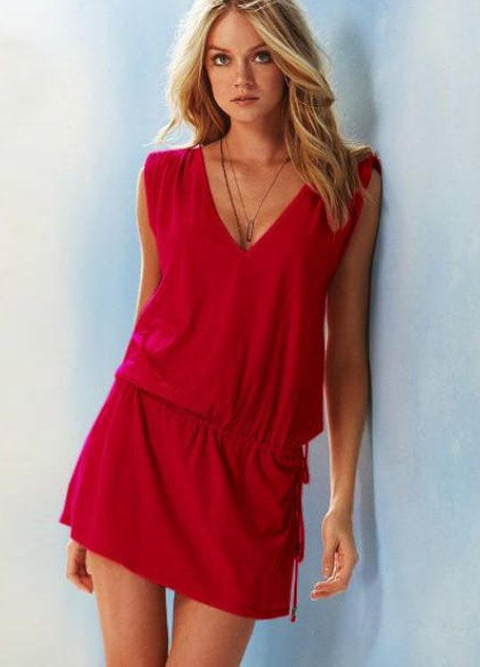Red Lovely Deep-V Beach Romper $23.59