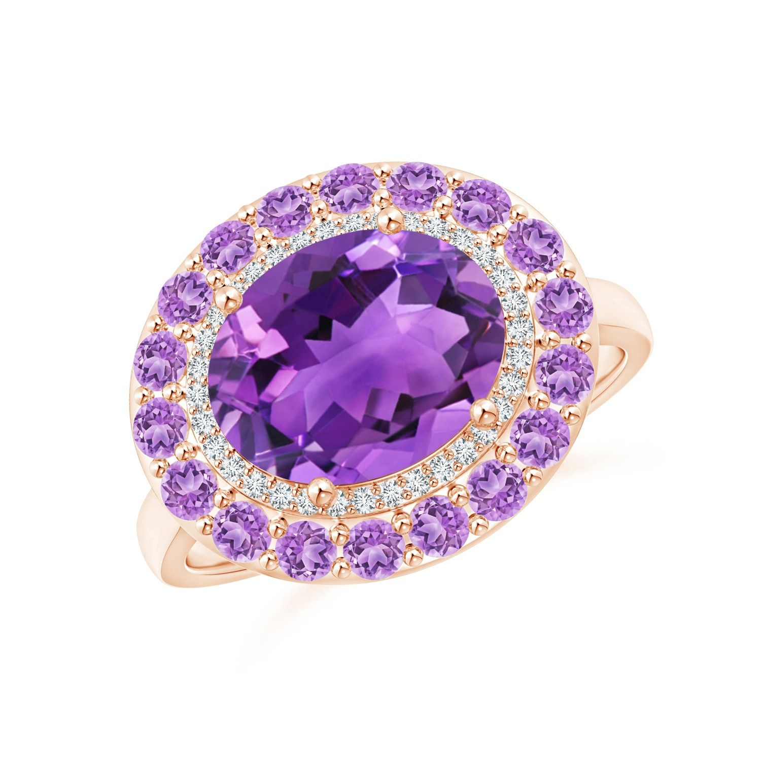 Angara Double Milgrain Outline Cushion Amethyst Solitaire Ring in Rose Gold mbvpo8