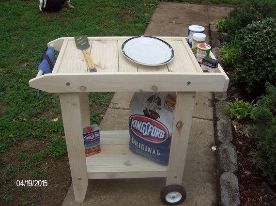 Wood Bbq Cart Prep Table New Handcrafted Unfinished