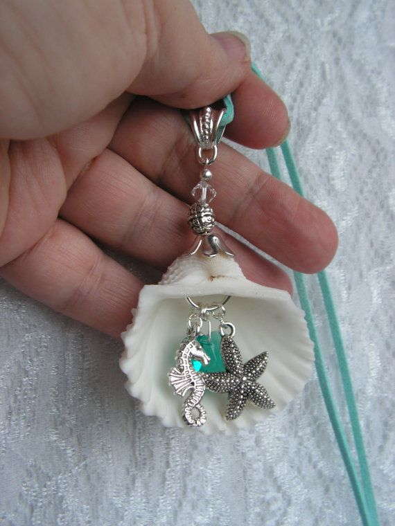 Necklace blue turquoise aqua pendant sea by for Seashell ornaments diy