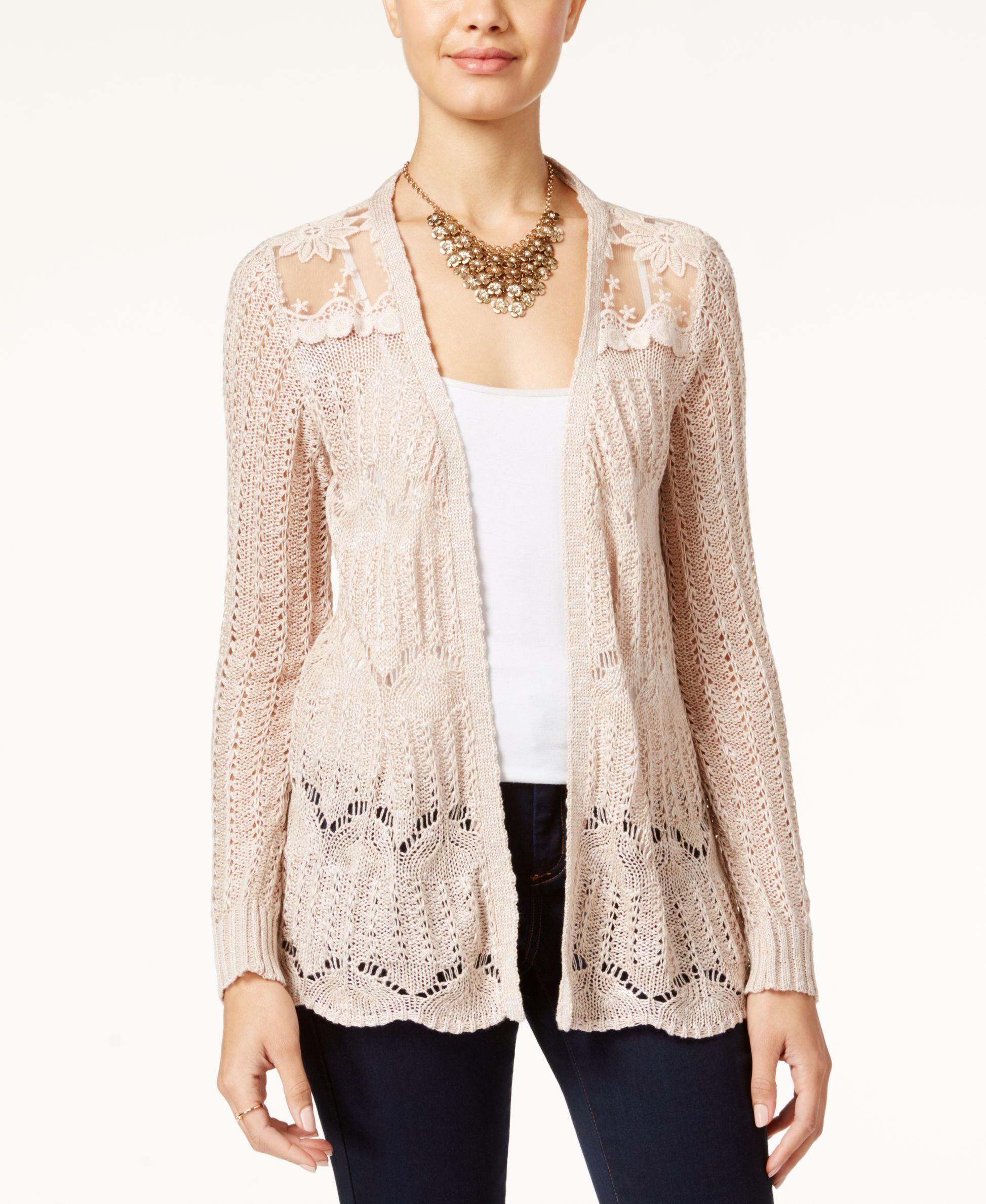 American Rag Pointelle-Knit Lace-Panel Cardigan | Products ...