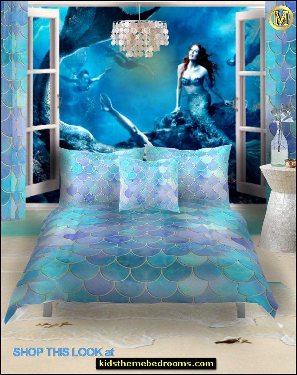 Mermaid Bedrooms Mermaid Bedding Ocean Floor Mural Underwater Bedroom Ideas Mermaid Bedroom Decor Und Mermaid Bedding Mermaid Bedroom Mermaid Decor Bedroom