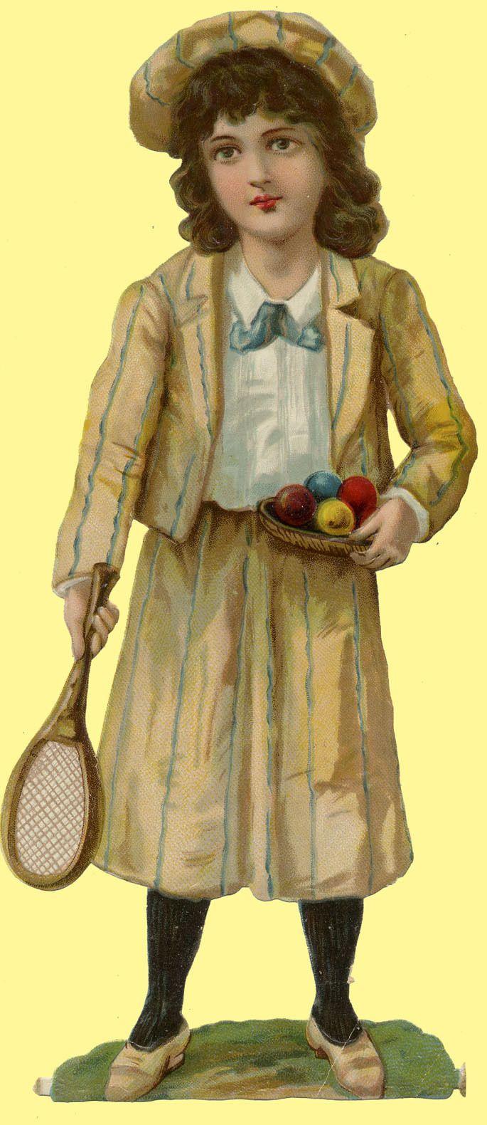 1880s Victorian Large Tall Die Cut Lawn Tennis Girl