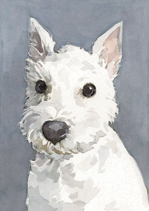 Custom Pet Portrait 5x7 Watercolor Painting By Studiotuesday