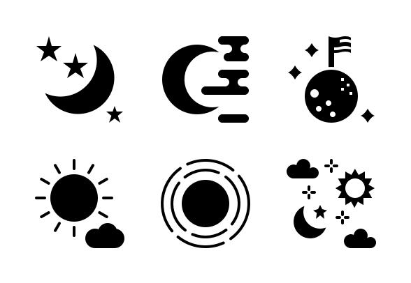 Sun And Moon Glyph Icons By Tulpahn Moon Glyphs Glyph Icon Glyphs