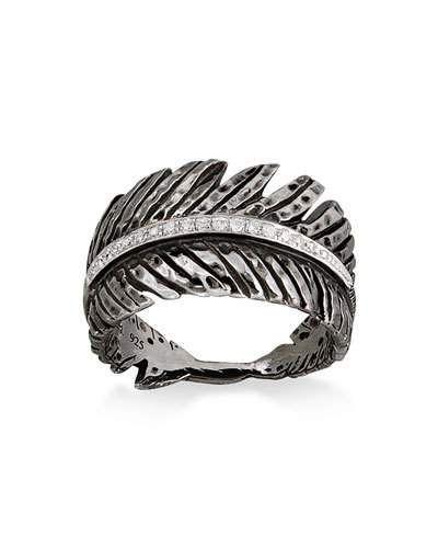 197032ee6e37e MICHAEL ARAM RHODIUM-PLATED DIAMOND FEATHER BAND RING. #michaelaram ...