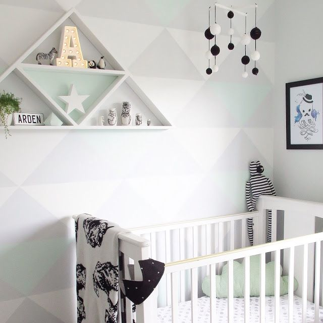 Best Mint Boys Nursery With Grey Black And White Triangle Feature Wall With Tutorial Toddler Boys 640 x 480