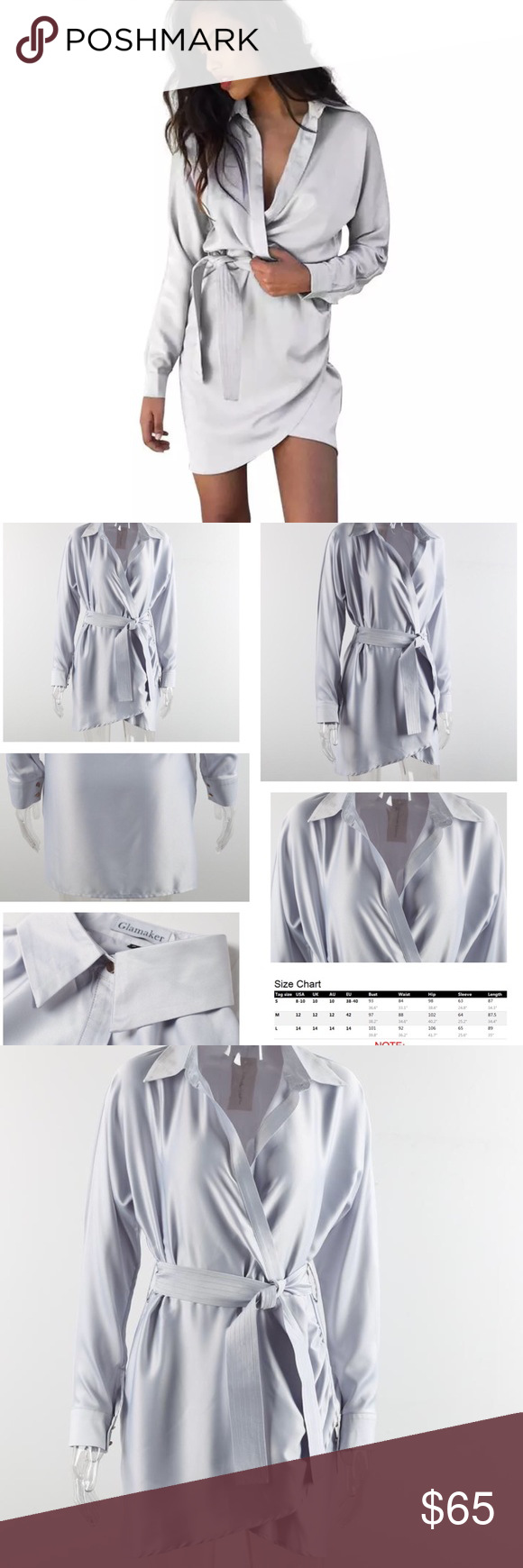 Satin Wrap Shirtdress Sexy yet effortlessly classic belted satin wrap Shirtdress. The perfect versatile wardrobe piece, great for the office or a night out. Inspired from the sleepwear trends of the A/W 16 runway season. 🚫🚫COMING SOON! Comment to secure your order today! 🚫🚫 Specifics🔻🔻🔻🔻🔻 Brand Name: Glamaker Material: Poly,Spandex,satin  Style: Wrap  Silhouette: Asymmetrical Color: pearl  Sleeve Length: Full Dresses Length:Above Knee, Mini Waistline:Empire Neckline: Turn-down…