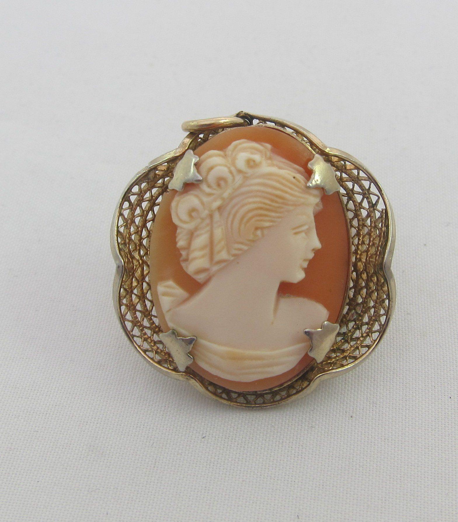 14k Gold Cameo Pendant Italian Handcarved Corneilian Shell