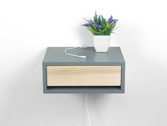 Devon Gray Contemporary Nightstand, Floating Nightstand, Side Table ...