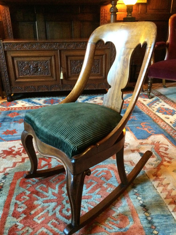 Exquisite antique victorian rocking chair mahogany 19th