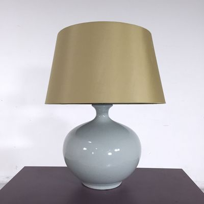Soft Skies Table Lamp. - Lovely ceramic table lamp with a light blue color- Includes a rounded lamp shade- Great condition