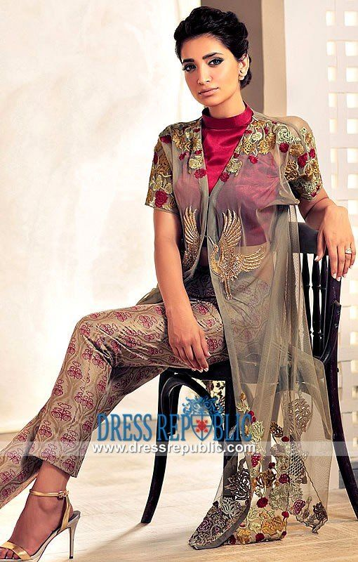 Pakistani Party Wear Dresses 2015 In Gray In 2020 Pakistani Party Wear Dresses Pakistani Party Wear Party Wear Dresses