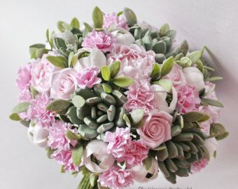 Wedding bouquet with carnation Succulent bouquet Bridal bouquet Pink wedding bouquet with Succulents Peony wedding bouquet Clay bouquet -    Edit Listing  - Etsy