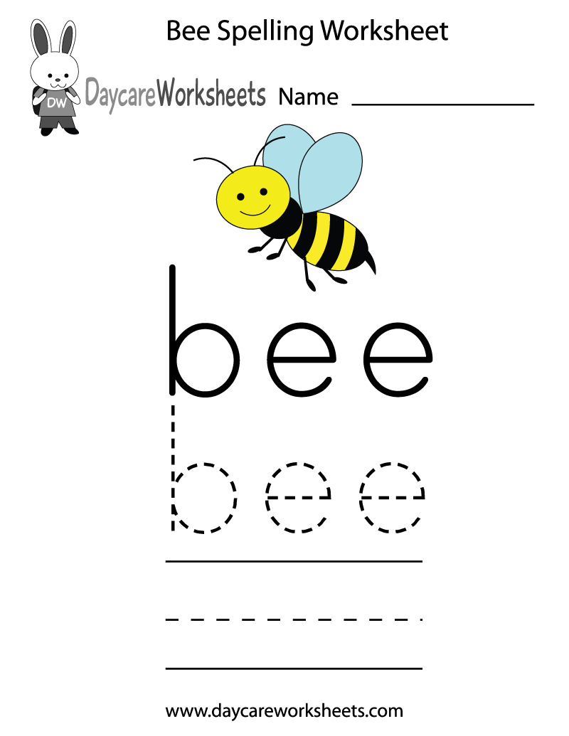 Learn and practice how to spell the word bee using this printable – Free Printable Spelling Worksheets